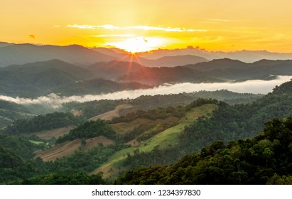 Umphang town in the morning when viewed from the scenic spot, Tak Province, Thailand.