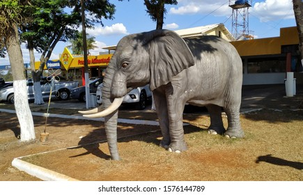 Umuarama, Paraná, Basil - November 20, 2019 - Replica of an Elephant at the Spring Food Court Point on the Umuarama City Highway, Southern Brazil - Shutterstock ID 1576144789