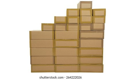 Un coated, stacked boxes in brown, on white background.