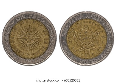 Un Peso Argentina coin isolated on a white background