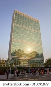 UN United Nations secretariat skyscraper at sunset - September 1, 2015, First avenue, New York City, NY, USA