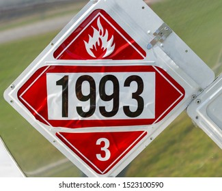 UN1993 Flammable Liquid Hazmat placard.  Used on tanker trailers to communicate a flammable hazard to emergency responders.