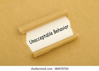 Unacceptable Behavior written under torn paper.