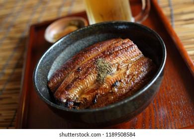 Unadon, bowl of rice with eel
