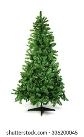 Unadorned Christmas tree isolated on white