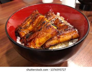 Unagi Don (Eel Rice Bowl) on the table.