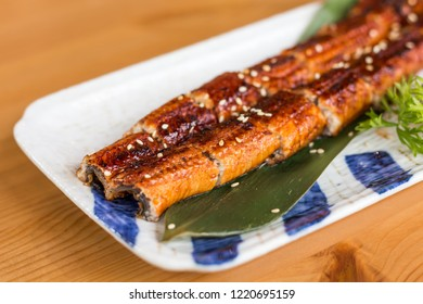 Unagi Don Grilled Eel Rice Bowl In White Plate On The Table with copy space.