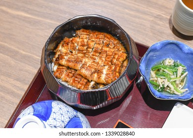 Unagi don Japanese Unadon  large bowl filled with steamed white rice, and topped with fillets of eel or Unagi