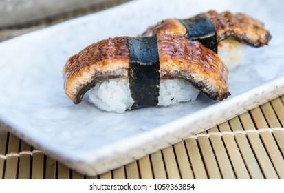 Unagi sushi set or Eel sushi,  Japanese food style.