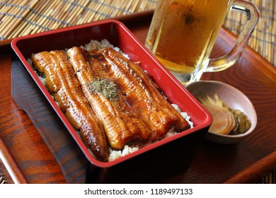 Unaju, grilled eel on rice in a lacquered box