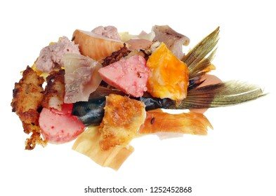 Unappetizing remnants wast of meat and fish food products. Isolated on white studio macro concept