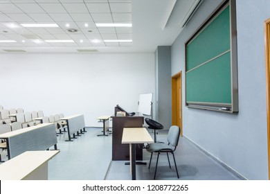Unattended classroom interior