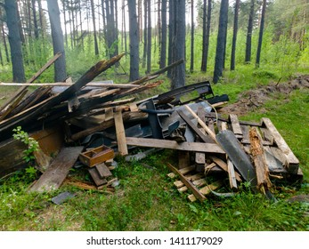 Unauthorized dump in the forest. Garbage dump in the forest.