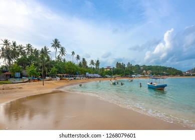 Unawatuna, Sri Lanka: September 18th, 2018. Swimming in the sea, Unawatuna, Sri Lanka