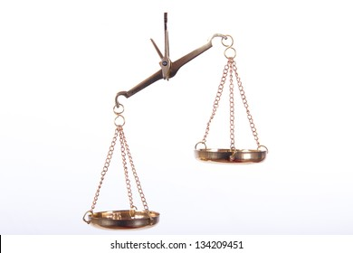 Unbalanced golden scales of justice, isolated on white background.