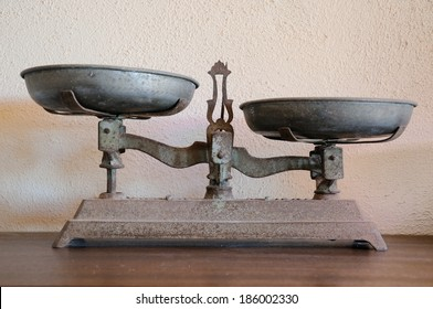 Unbalanced old weighing scale