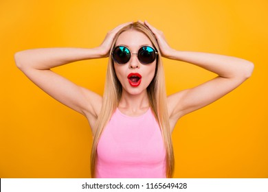 Unbelievable incredible people person rejoice delight fun joy concept. Close up photo portrait of funny funky beautiful comic humorous lady touching holding head isolated bright vivid background