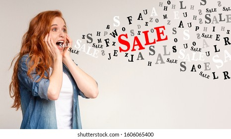 Unbelievable sales. Inscriptions Sale and diverse alphabet letters flying out of mouth of screaming redhead girl, light background, panorama