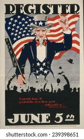 Uncle Sam and the American Flag on a World War I poster from 1917 encouraging men to register for military service in World War 1.