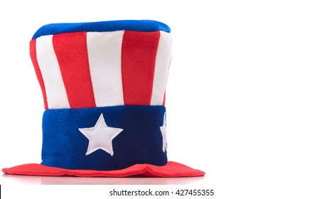 Uncle Sam hat on a white background.  United States symbol. Fourth of July constume