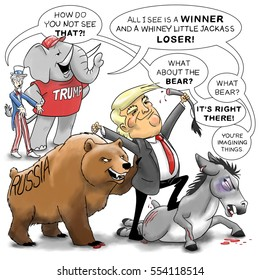 Uncle Sam and a Republican Elephant see entirely different things as they witness Donald Trump standing victorious over a beaten Democratic Donkey, a Russian bear at his side.