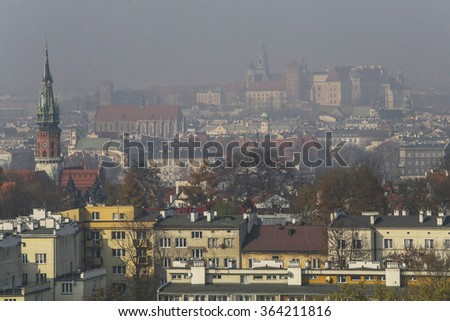 An unclear view over the Wawel castle in krakow, Poland caused by a dramatic increase of smog
