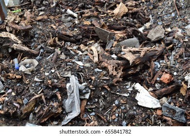 Uncleared garbage pile.