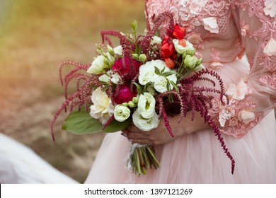 Uncommon Wedding bouquet with white and dark pink flowers