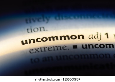 uncommon word in a dictionary. uncommon concept.