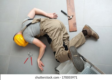 Unconscious handyman after falling from a ladder and severely injuring himself.