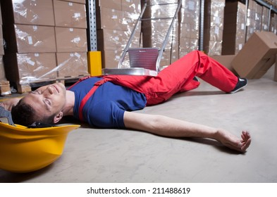 Unconscious warehouse worker after falling from a ladder