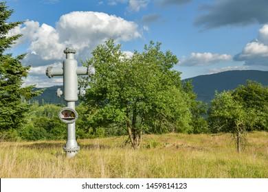 Unconventional christian cross on Zanka in Kysucke Beskydy mountains close to village Oscadnica in Slovakia