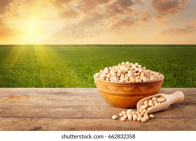 uncooked chickpeas grains in ceramic bowl on wooden table with field on the background. Agriculture and harvest concept. Photo with copy space