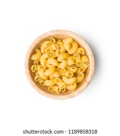Uncooked elbow macaroni in bowl isolated on white background.