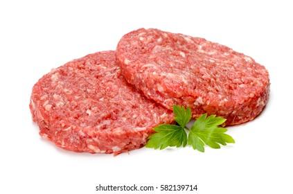 Uncooked hamburger meat on white