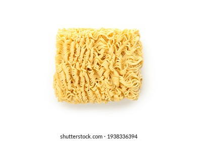 Uncooked instant noodles isolated on white background