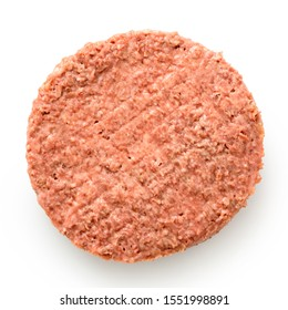 Uncooked plant based vegetarian burger patty isolated on white. Top view.