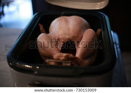 Uncooked turkey in an electric roasting pan.