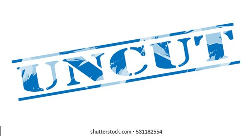 uncut blue stamp on white background