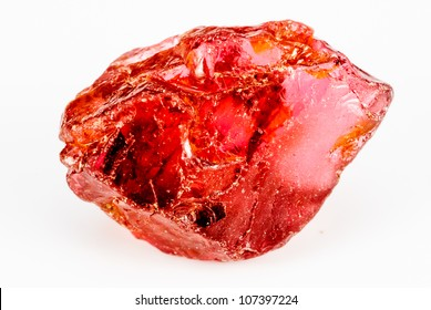 Uncut and raw Garnet crystal.  This natural Garnet has a crisp reddish color.