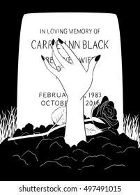 The undead left hand and arm of the late Mrs. Carrie Ann Black emerges from the dirt over her grave.