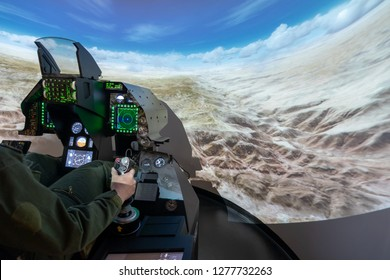 Undefined man play a multirole fighter aircraft simulator
