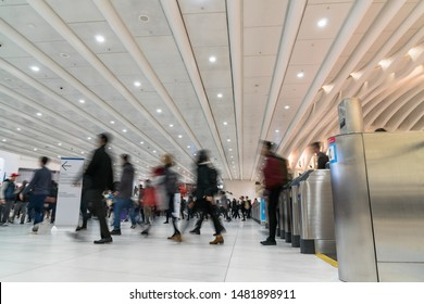 Undefined passenger and tourist walking and Swipe the card for in and out the subway in rush hour, lower Manhattan,New York, United state