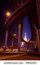 under Bhumibol Bridge in Thailand