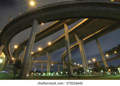 Under the big expressway with lighting