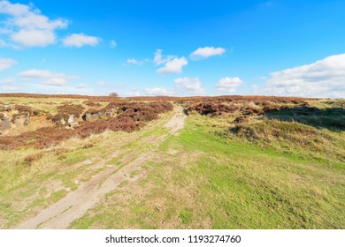 Under a blue sky dotted with small white clouds a feint footpath leads over Stanton Moor in the Derbyshire Dales