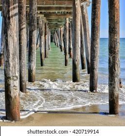 Under The Boardwalk Down by the Sea. Capitola Beach, Santa Cruz County, California