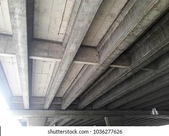 Under bridge road of a highway bridge in the bangkok