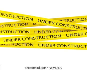 under construction background with yellow ribbons. 3D rendering