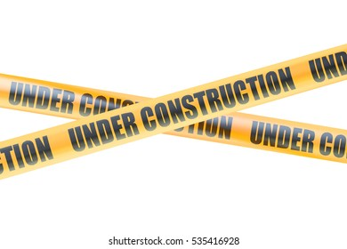 Under Construction Caution Barrier Tapes, 3D rendering isolated on white background